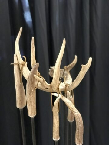antler fireplace tool set top view
