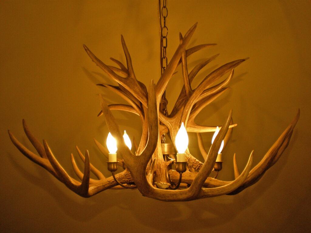 Mule Deer Chandelier Brass cluster