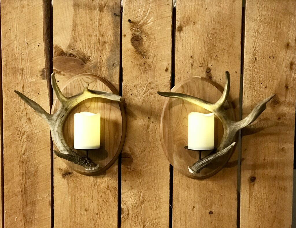 antler sconce pair with LEDs
