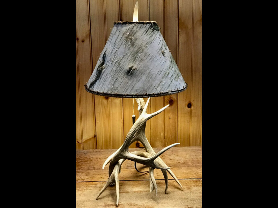 Real Mule Deer Antler Table Lamp with Real Birch Bark Lamp Shade