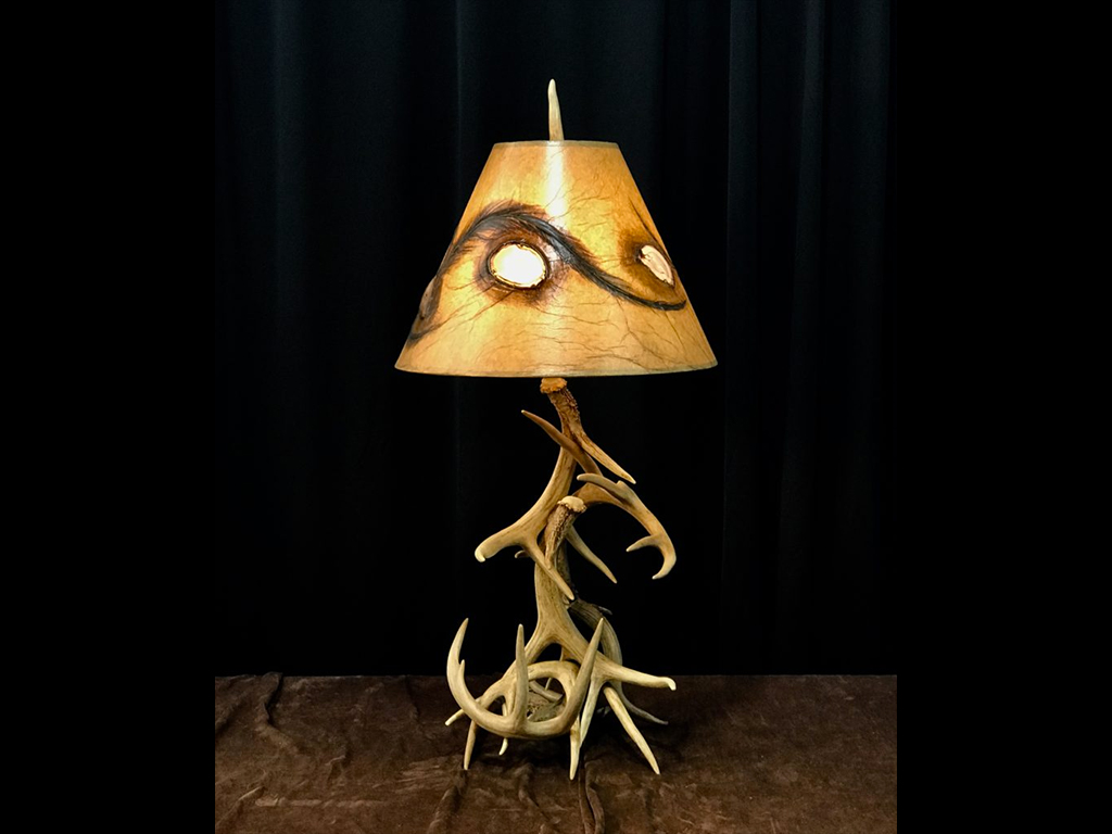 Real Deer Antler 2-Tier Table Lamp with Custom Shade