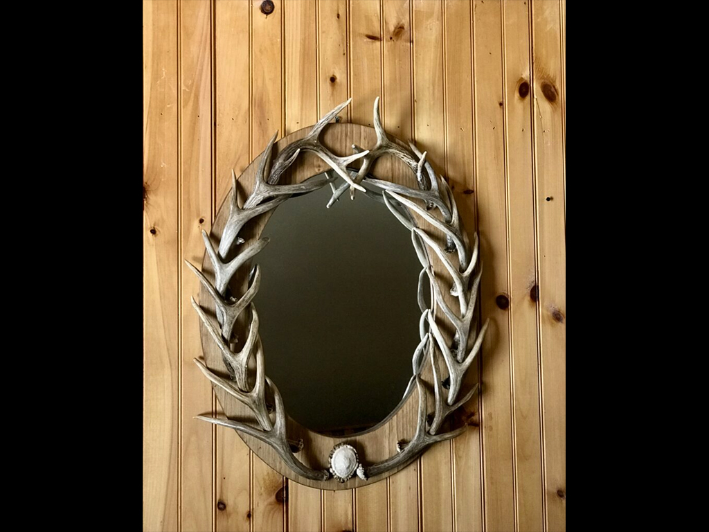 Real Deer Antler Mirror